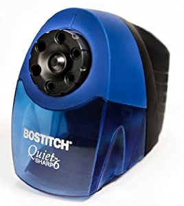 Stanley Bostitch QuietSharp6(TM) Classroom Pencil Sharpener With 6-holes And Quiet Motor, Blue (EPS10HC)