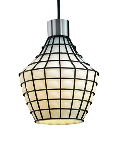 Justice Design Group Wire Glass 1-Light Double Curve Pendant, Brushed Nickel