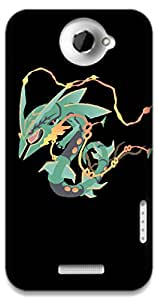 The Racoon Grip Mega Rayquaza hard plastic printed back case / cover for HTC One X