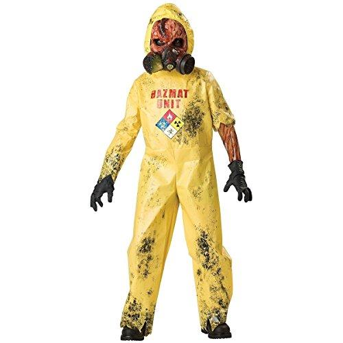 [GSG Hazmat Suit Costume Kids Scary Zombie Halloween Monster Fancy Dress] (Little Girl Scary Clown Costume)