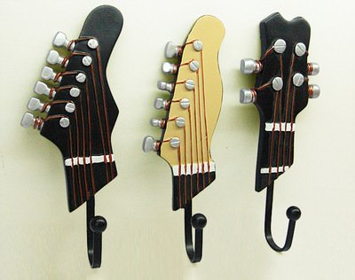 Vejaoo Set di 3 creative ganci appendiabiti Vintage gancio muro portachiavi chitarra strumenti roccia