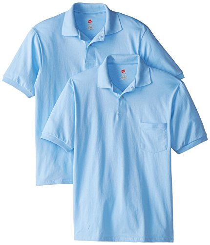 Hanes Men's Short Sleeve Jersey Pocket Polo, Light Blue, Large (Pack of 2) (Light Blue Short Sleeve Shirt compare prices)