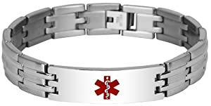 New 8 inch Stainless Steel Engravable Medical Alert Bracelet