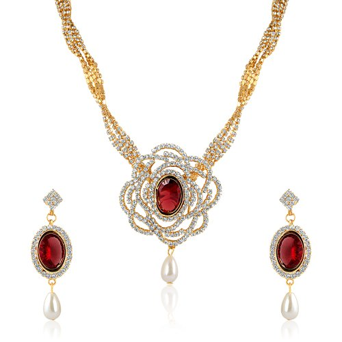 Oviya Fashion Jewellery White & Red Necklace Set With Crystal For Women NL2103111G