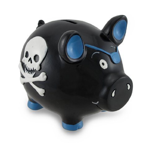 Black Pirate Pig Blue Skull & Crossbones Piggy Bank Money