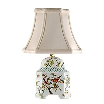 song birds small accent table lamp small porcelain base. Black Bedroom Furniture Sets. Home Design Ideas