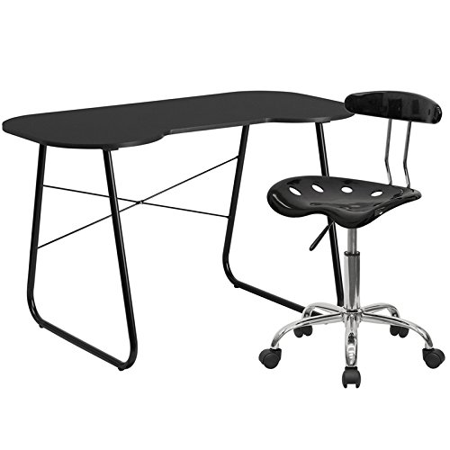 Flash Furniture Computer Desk And Tractor Chair, Black