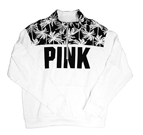 Victoria's Secret PINK Black/White Palm Tree Half-Zip Sweater (Large)