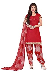 Ethnic For You Cotton Unstitched Salwar Suit Dress Materials(Red)