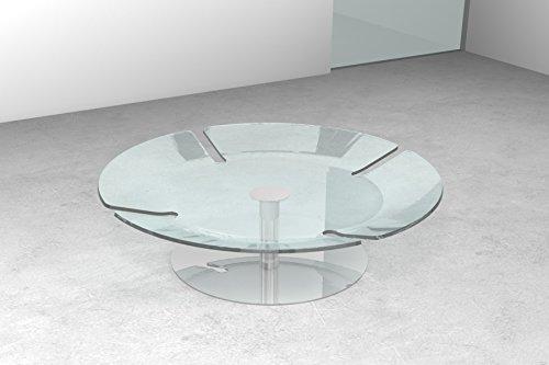 Tavolino in vetro da soggiorno salotto o ufficio Ufo T32, Colore: Vetro trasparente Art.T32C/01
