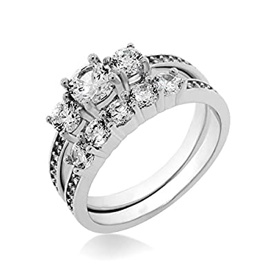 Ladies Sterling Silver Cubic Zirconia Brilliant Cut Engagement Ring Wedding Set