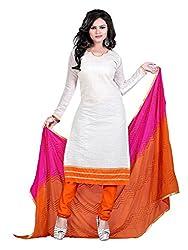 Subhash Sarees Daily Wear White Color Chanderi Salwar Suit Dress Material