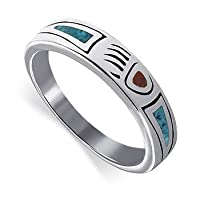 Turquoise Coral Inlay Band Sterling Silver Ring Size 4