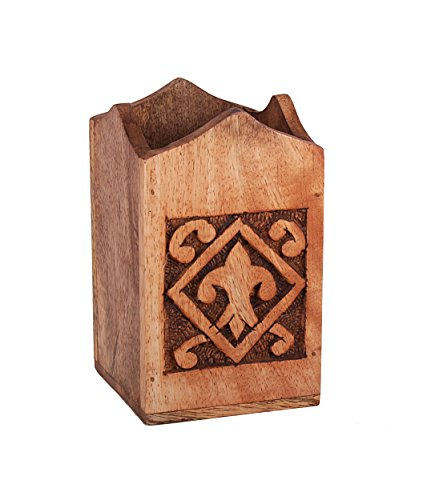 Pen Holder Rustic Hand Carved Wooden Pen Pencil Stand Holder Organizer (5 Inches) Office Desk Accessory
