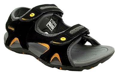 Size 13 Hi Tec Boys Owaka Jr Black, Grey & Gold Dual Velcro Strap Casual Sandals