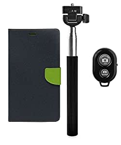 YGS Premium Diary Wallet Mobile Case Cover For Motorola Moto G 3rd Gen-Blue With Extendable Selfie Stick and Bluetooth Shutter Remote