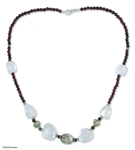 Garnet and quartz strand necklace, 'Purity and Passion'