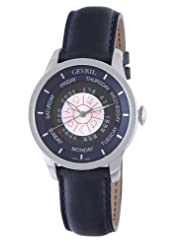 Gevril Men's 2000 Automatic Stainless Steel Blue Hand Made Leather Day Date Watch