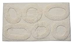 Castle Hill Bath Mat with Spray Latex Backing, Pebble Design, 24 by 40-Inch, Ivory