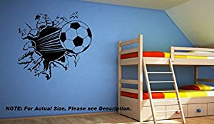 Large Kids Football Bursting Through Wall Bedroom Sticker - FW1