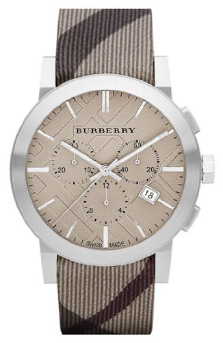 SALE! Authentic Burberry The City LUXURY Unisex Mens Womens Chronograph Watch Smoke Check Fabric Backed Leather Band Tan Engraved Date Dial BU9358