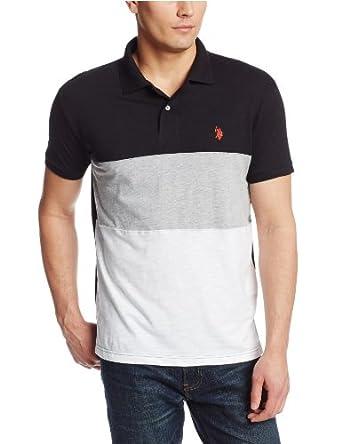 U.S. Polo Assn. Men's Tri Color Wide Stripes Slim Fit Cotton Slub Polo,Black,Small