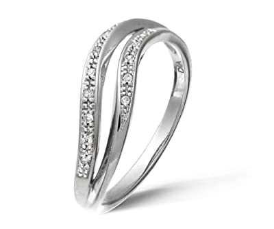 Ariel 9ct White Gold Diamond Pave Set Double Wave Half Eternity Ring