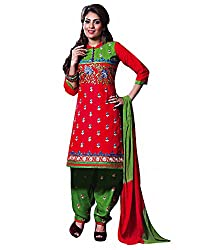 Rudra Textile Women's Red Cotton Punjabi Suit
