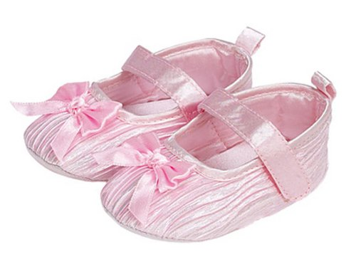 Soft Touch Baby Girls Pink Satin Mary Jane Pram Shoes - 6-12 Months