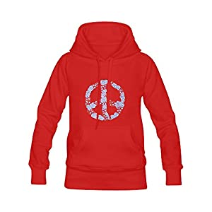 Abbie Miller Peace Sign Men's Casual Cotton Classic Fleece Hoodie Red