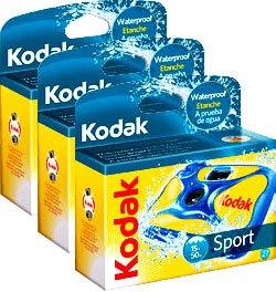 Kodak Single Use Camera - Aqua SPORT Waterproof - 27 Exposures - PACK OF 3