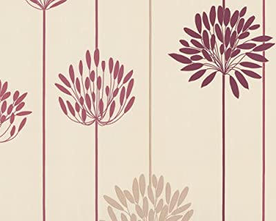 Wallpaper Floral Pattern Beige And Red by A.S. Creation