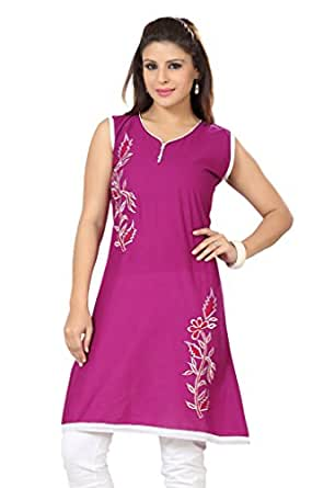 ISHIN Poly Cotton Purple kurti available at Amazon for Rs.1499