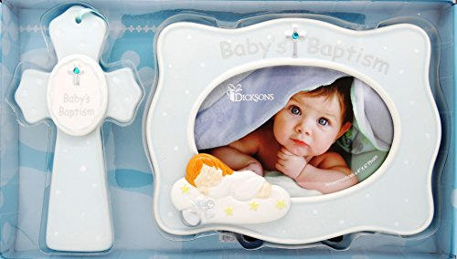 "Boy Baby's Baptism 4"" X 6"" Frame & 7"" Cross Gift Set - BLUE - 1"