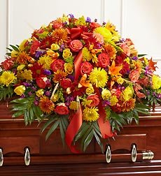 Funeral Flowers by 1800Flowers.com - Half Casket Cover in Fall Colors