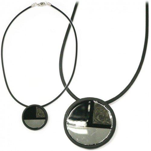 SG Paris Necklace 42cm Rhodium Black Comb Noir/Jet Necklace Necklace Painted Metal the Essential Man Hom-Actua the Essential Circle
