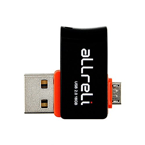 aLLreli Micro USB 2.0 OTG フラッシュドライブ 16 GB スマホ直接接続 デュアルUSB回転デザイン [並行輸入品]