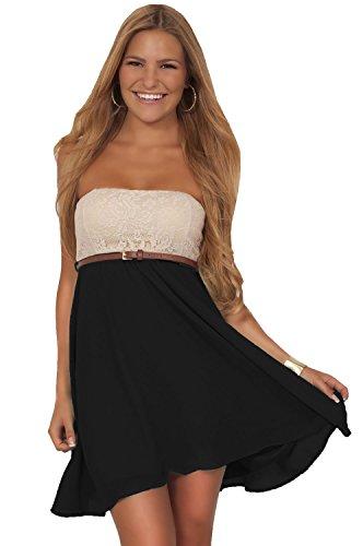 Juniors Casual Crochet Chiffon Color Block Strapless Belted Empire Waist Mini Dress