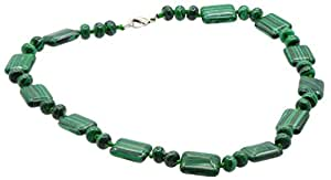 "Semi Precious Healing Gemtsone Green Malachite Necklace 18.5"": Jewelry"