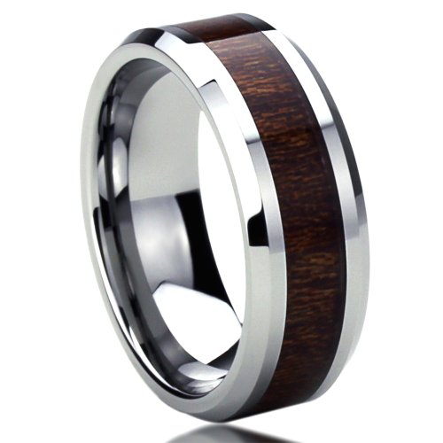 Unisex Men'S 8Mm Titanium Comfort Fit Wedding Band Ring Wood Grain Inlay Beveled Edges Ring (6 To 14) - Size: 10