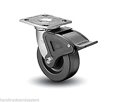 "Colson Swivel Plate Caster Heavy Duty Phenolic 4"" x 2"" Wheel & Total Lock Brake"