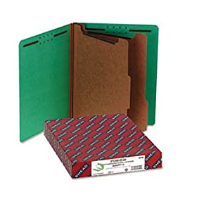 Pressboard End Tab Classification Folders, Letter, Six-Section, Green, 10/Box by SMEAD (Catalog Category: Files & Filing Supplies / File Folders)
