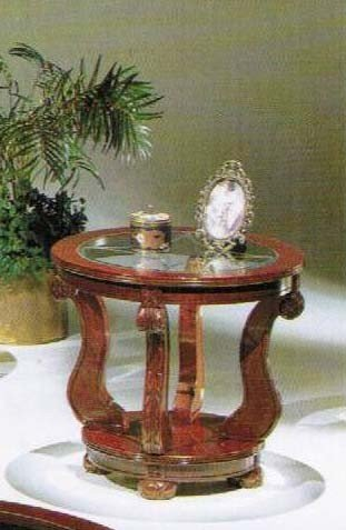 Round End Table Cherry Finish front-868011