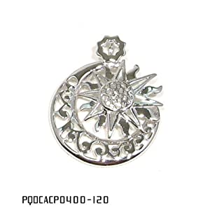 """Moon and Sun Design Sterling Silver Pendant Necklace with Rhodium Plated, come with 16"""" Italian Sterling Silver Chain"""