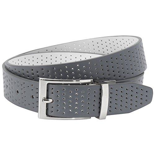 Aquarius Mens Reversible Perforated Belt 34 Grey/White