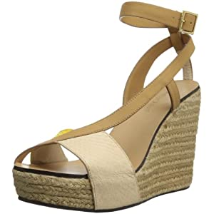 See By Chloe Women's 22006 Wedge Sandal,Natural/White/Yellow Snake,36.5 EU/6.5 M US