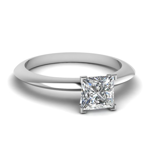 Fascinating Diamonds Knife Edge 0.50 Ct Solitaire Princess Cut Diamond Stupendous Engagement Ring 14K Gia