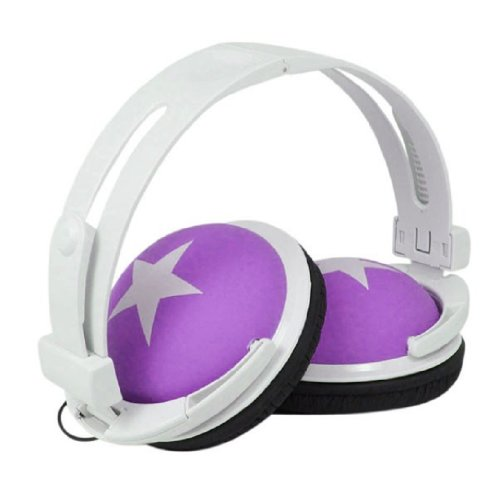 Amjimshop(Tm) Colorful Fashion Design Stereo Headphones With Star (Purple)