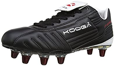 Kooga Unisex Adult 31403 KP Warrior LCST Venom Rugby Boots - Black/White/Red, 6 UK, 39.5 EU Regular