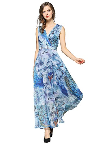 EvelynNY Womens Floral Peacock Evening Casual Split Loose Prom Party Maxi Dress, Blue, Large